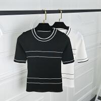 2018春夏季新款女装韩版圆领拼色条纹显瘦套头中袖针织上衣打底衫