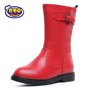 巴布豆童鞋 女童靴子2016冬季新款女童马丁靴韩版真皮潮女童短靴