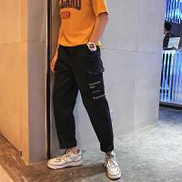 2018夏季日系工装原宿风百搭潮流男裤个性英文印花休闲裤长裤子