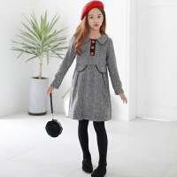 2019 韩版女童复古连衣裙含羊毛呢料裙秋冬翻领连衣裙 黑色