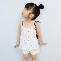夏季清凉女童吊带背心纯色儿童百搭打底衫抽绳婴儿宝宝上衣