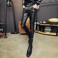 皮裤男士冬季摩托车男式修身款潮流青年机车皮裤男款pu紧身小脚防风保暖 黑色 74#