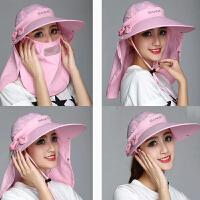 夏天女遮阳太阳帽骑车遮脸潮帽子空顶帽可拆折叠帽子