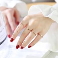 日韩版镀18K玫瑰金戒指女彩金刻字情侣戒指指环尾戒骨戒装饰品 玫瑰金色 美号 3号