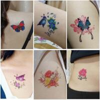 50张 纹身贴防水女持久韩国仿真 蝴蝶花朵性感遮疤锁骨小纹身贴纸
