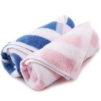 三利 缎档彩条 纯棉毛巾两条装