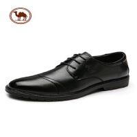 骆驼牌休闲皮鞋男春季新款牛皮正装皮鞋英伦系带潮流婚鞋尖头皮鞋