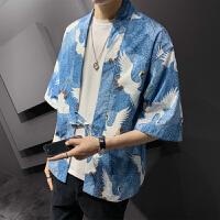 夏季防晒服花衬衣韩版潮流帅气五分袖衬衫男潮牌短袖开衫薄款外套