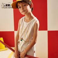 小虎宝儿童装男童背心夏装2020新款儿童无袖纯棉t恤中大童洋气潮