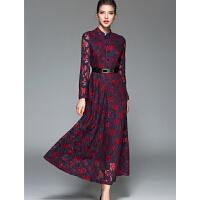 春装新款女装气质修身秋冬打底长款长袖立领蕾丝连衣裙长裙