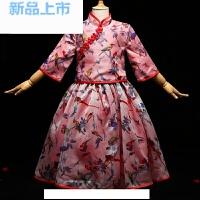 儿童礼服女童生日公主裙大童复古中国风中袖花童短款两件套演出服