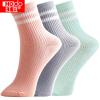 HONGDOU女士袜子 女式柔棉舒适透气撞色条纹休闲袜 三色一组