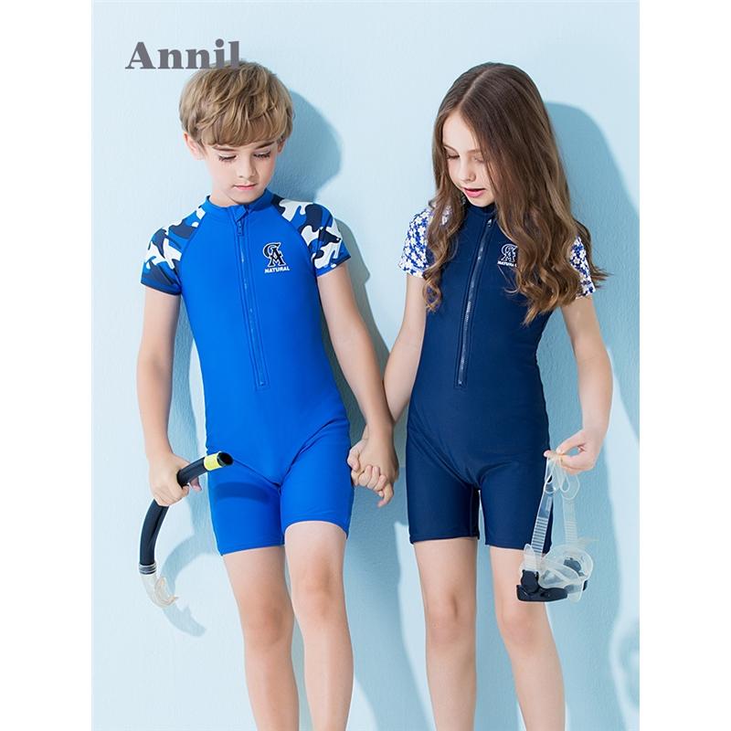 【3件3折:89.7】安奈儿童装男童女童宝宝连体泳衣套装年新款温泉 拼接花色袖子,连体版型设计