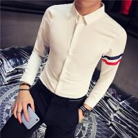 新款发型师潮男士修身弹力长袖小码显瘦衬衫小个子打底S小码