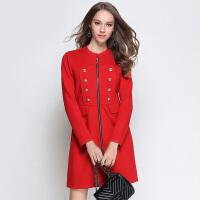 200斤大码冬季连衣裙胖mm微胖女装减龄开衫遮肚子红色长袖直筒裙