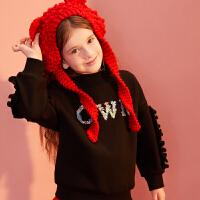 【1件4折:79】巴拉巴拉旗下巴帝巴帝女童加绒卫衣2019新款冬装甜美韩版儿童洋气上衣女