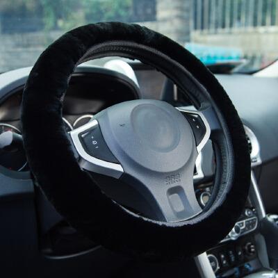 【支持礼品卡支付】YooCar 新款纯羊毛把套 毛绒方向盘套 高档整皮 冬季汽车用品 黑色