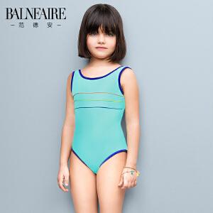 范德安新款海边防晒儿童泳衣中大童可爱女童三角连体学生训练泳装