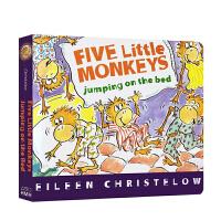 Five Little Monkeys Jumping on the Bed 五只小猴子床上蹦蹦跳 Eileen Christelow 廖彩杏推荐绘本 幼儿启蒙认知英文原版 纸板书