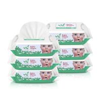 手口屁专用品宝宝 婴儿湿巾湿纸巾带盖100湿巾纸80抽6包