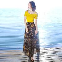 夏季新品女装短袖雪纺裙子连衣裙波西米亚长裙海边度假沙滩裙 图片色XZA572