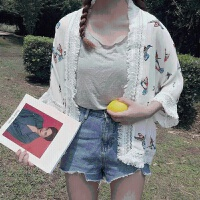 夏季女装韩版小清新卡通宽松薄款学生短款外套流苏防晒衣开衫学生 图片色 衣长60