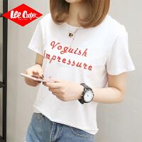 Lee Cooper春夏新品字母印花短袖t恤女青年学生打底衫半袖潮流纯棉女式t恤