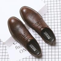 秋冬男式潮流简约上班 低帮皮鞋子韩版英伦青年正装休闲鞋