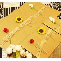 创意DIY复古牛皮纸手工干花贺卡 圣诞节新年生日祝福花束通用卡片