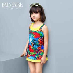 范德安2016新款女童裙式连体泳衣 中大童可爱公主舒适儿童游泳衣