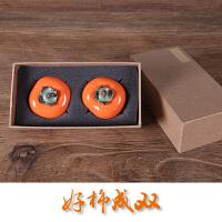 柿柿如意摆件 手工陶瓷柿子 小茶仓 创意礼物 结婚礼物