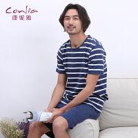 康妮雅春夏男士睡衣针织薄款休闲家居服条纹短袖套装