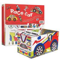 英文原版进口童书 Convertible - Race Car儿童学习玩具地板书可折叠立体变形纸板玩具书 组装立体变形