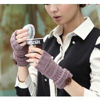 翻边女士保暖手臂套毛线袖套 秋冬季可爱半指加厚 假袖子手套