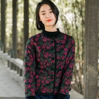 布符2018秋冬新款中国风印花修身棉服女士休闲保暖短款轻薄小棉袄