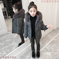 女童棉衣2018新款女孩洋气10岁儿童冬装外套中长款12大童羽绒 18387灰蓝 偏小半码