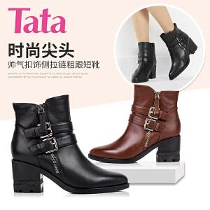 Tata/他她 年专柜同款牛皮革女靴2I847DD5