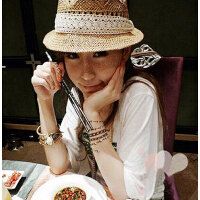 镂空设计蕾丝花边草帽 草帽 波西米亚 女士礼帽
