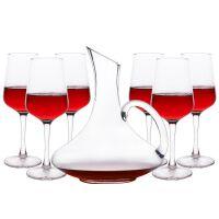 家用红酒杯套装大号高脚葡萄酒杯6只水晶酒具醒酒器杯架2个