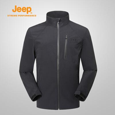 【特惠价】Jeep/吉普 新品防水运动户外外套男薄款夹克冲锋衣男J812095002 YKK拉链 舒适透气