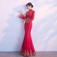 新娘敬酒服2018新款春季回门结婚红色礼服裙女孕妇旗袍连衣裙冬季
