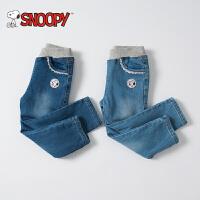 snoopy/史努比童装冬装女童加绒牛仔裤中小童水洗牛仔长裤休闲裤