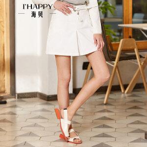海贝2018春季新款女装 高腰收腰白色OL气质通勤简约A字半身裙短裙