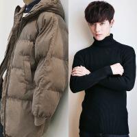 男潮流冬季外套羽绒棉袄男韩版学生棉衣中长款宽松加厚面包服
