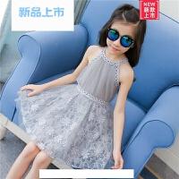 女童裙子2018新款韩版夏季露肩连衣裙超洋气公主裙夏天吊带蕾丝裙