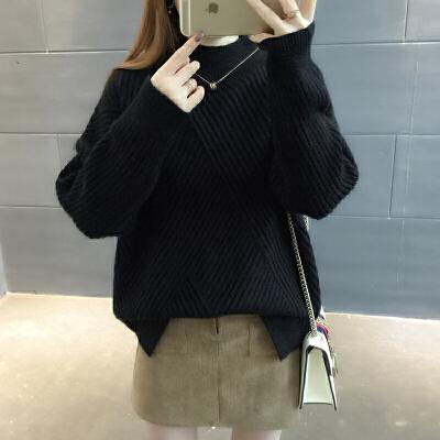2018新款半高领毛衣女士套头加厚秋冬季打底衫百搭时尚宽松韩版潮
