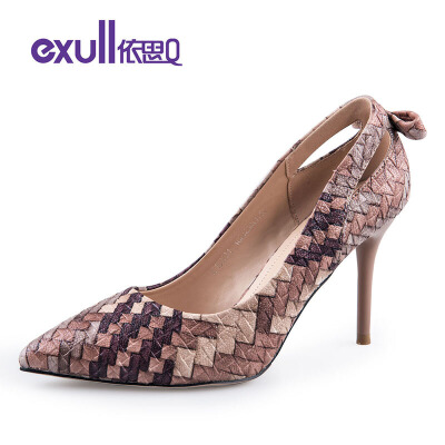 依思q春季新款拼色编织镂空蝴蝶结细跟高跟单鞋女鞋