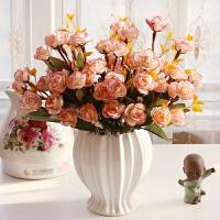 客厅室内装饰摆件餐桌塑料假花干花欧式仿真花束玫瑰绢花套装摆件 咖啡色 榴莲瓶+4小圆玫