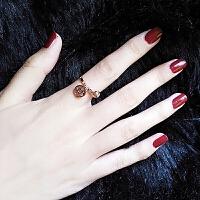 钛钢食指戒指女饰品简约学生清新个性铃铛彩金