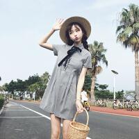 学院风软妹子系带蝴蝶结连衣裙女装韩版夏季学生闺蜜装格子娃娃裙